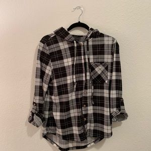 Size L flannel with faux fur hood from Macy's
